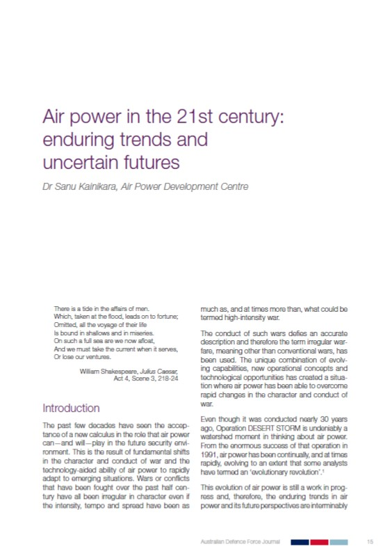 Air power in the 21st century: enduring trends and uncertain futures